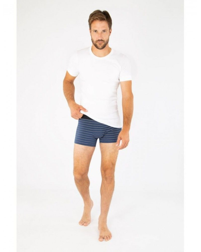 Armor Lux - Boxer Shorty Rayé - Ink Rich Navy Milk Armor Lux - 1